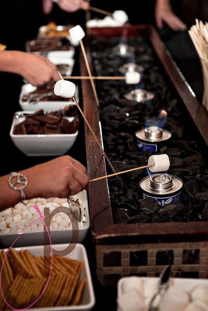 Everyone has a chocolate fountain. What about a s'more dessert buffet?