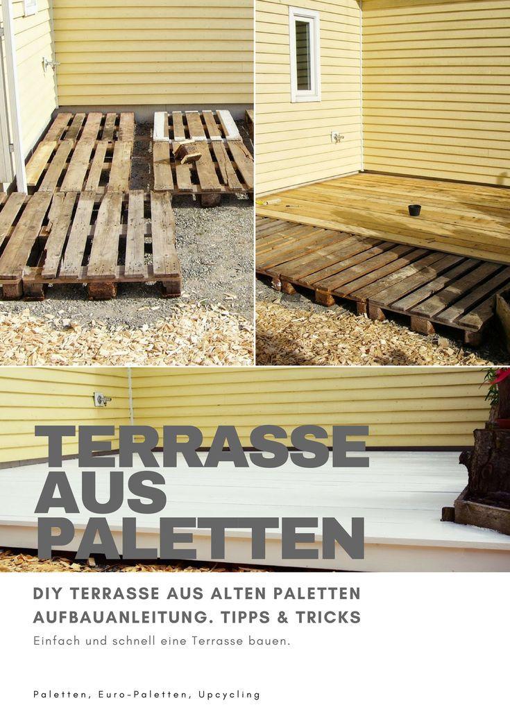 DIY Terrasse aus-Paletten bauen Deck Garten selbermachen Europaletten Palettenm…