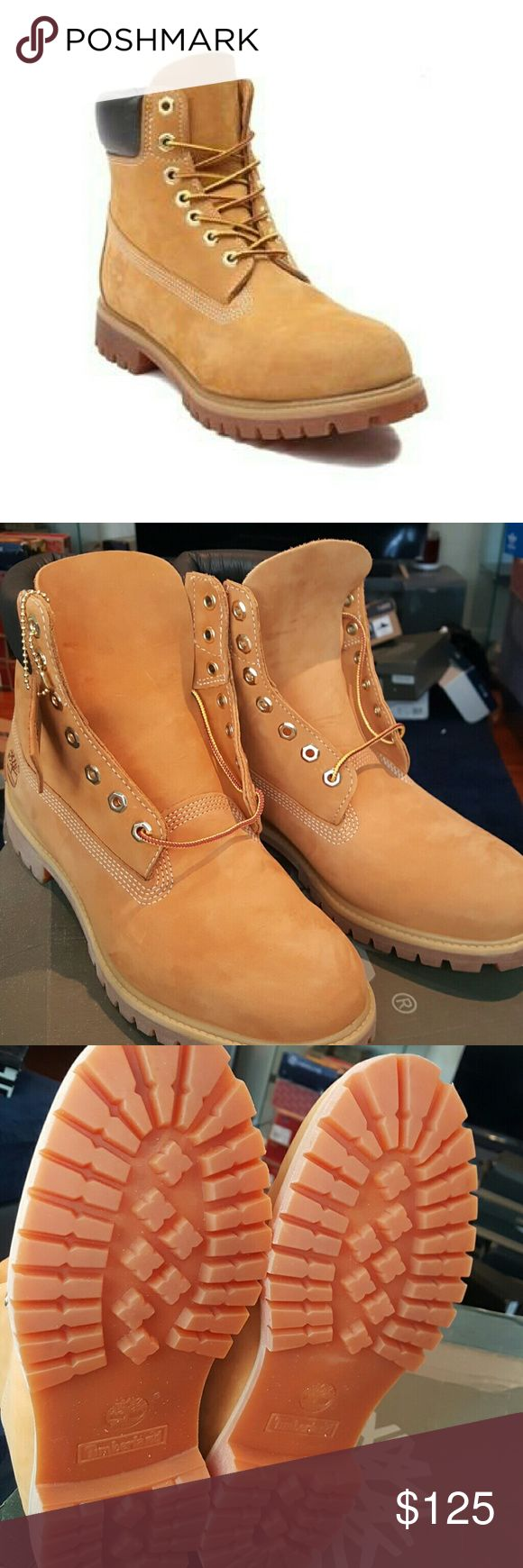 """Mens Timberland 6"""" Classic Boot Box is a little beat up.  The original Timberland? boot, first designed nearly forty years ago and a staple in millions of closets, mudrooms and garages around the globe. Timberland has been selling this classic style for nearly 40 years and made some improvements along the way, such as the addition of its exclusive anti-fatigue comfort technology, but its six-inch boots remain just as sturdy and dependable as always. Premium waterproof leather, seam-sealed…"""