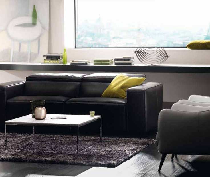 Natuzzi   Another Black Sofa With A White Table. I Like Low Profile  Furniture.