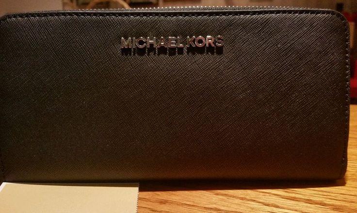 MICHAEL MICHAEL KORS Jet Set Travel Zip Around Black Saffiano Leather Wallet #MichaelKors