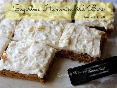 These sugarless hummingbird bars are low carb, gluten free and work great in a Trim and Healthy Lifestyle. They satisfy the craving for hummingbird cake for Trim Healthy Mama's like me.