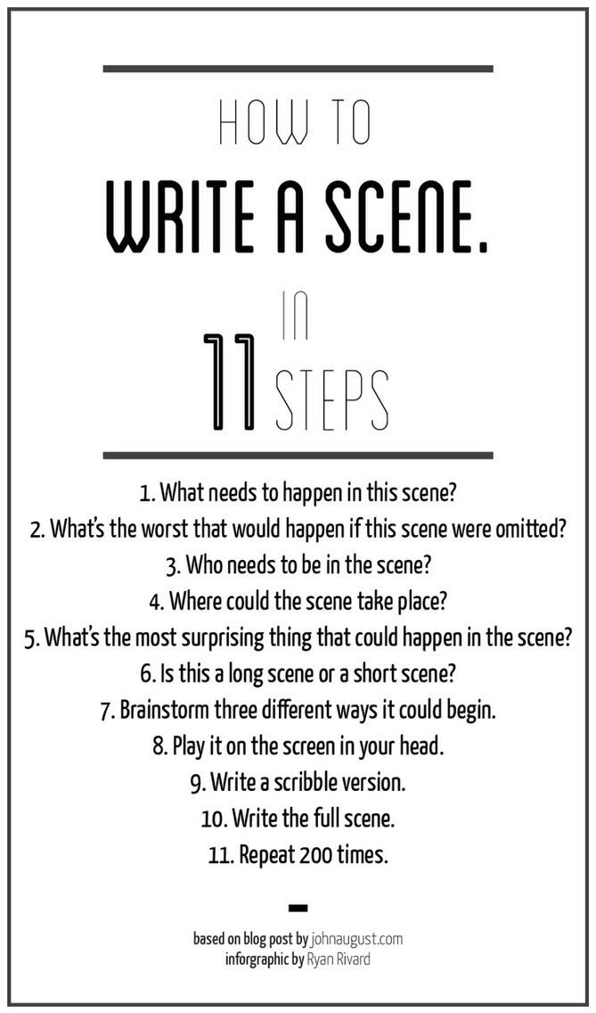 For fellow aspiring screenwriters: How To Write A Scene In 11 Steps - Imgur