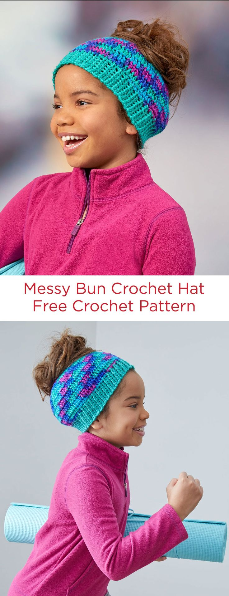 Messy Bun Crochet Hat Free Crochet Pattern in Red Heart Yarns -- This trendy style hat makes it easy to wear your hair in a bun, even while wearing a hat. It's a regular crochet style beanie, but with the added feature of a hole to accommodate your bun or pony tail.