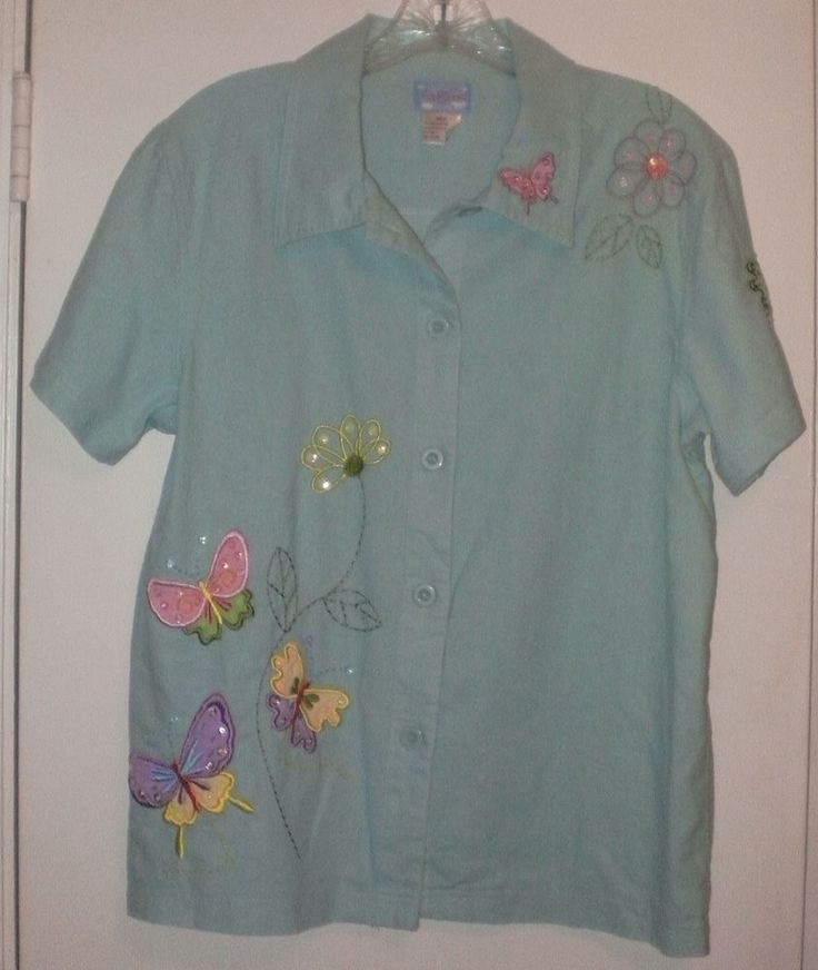 Cre8tions Ladies' Linen Cotton Teal Shirt~Medium~Sequin Bead Butterflies Flowers | Clothing, Shoes & Accessories, Women's Clothing, Tops & Blouses | eBay!