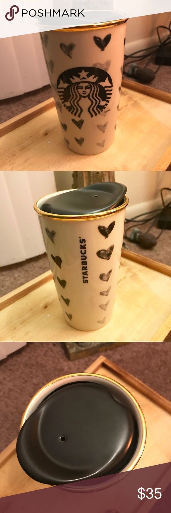 RARE Starbucks ceramic Valentines travel mug. Rare 2014 Starbucks Valentines travel mug. It's ceramic, has a gold rim, and the original lid. In like new condition.  I hate to part with it, but I never use it. Starbucks Other