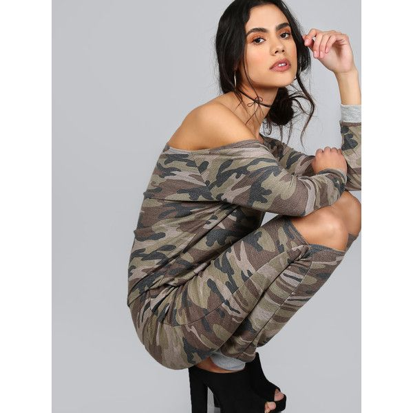 SheIn(sheinside) Oblique Shoulder Ripped Knee Camouflage Jumpsuit (€25) ❤ liked on Polyvore featuring jumpsuits, green, green long sleeve jumpsuit, camouflage jumpsuit, sleeve jumpsuit, stretch jumpsuit and print jumpsuit