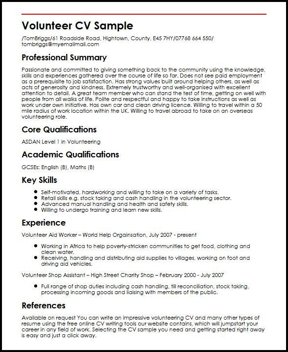 Volunteer 4-Resume Examples Sample resume, Resume, Cv template