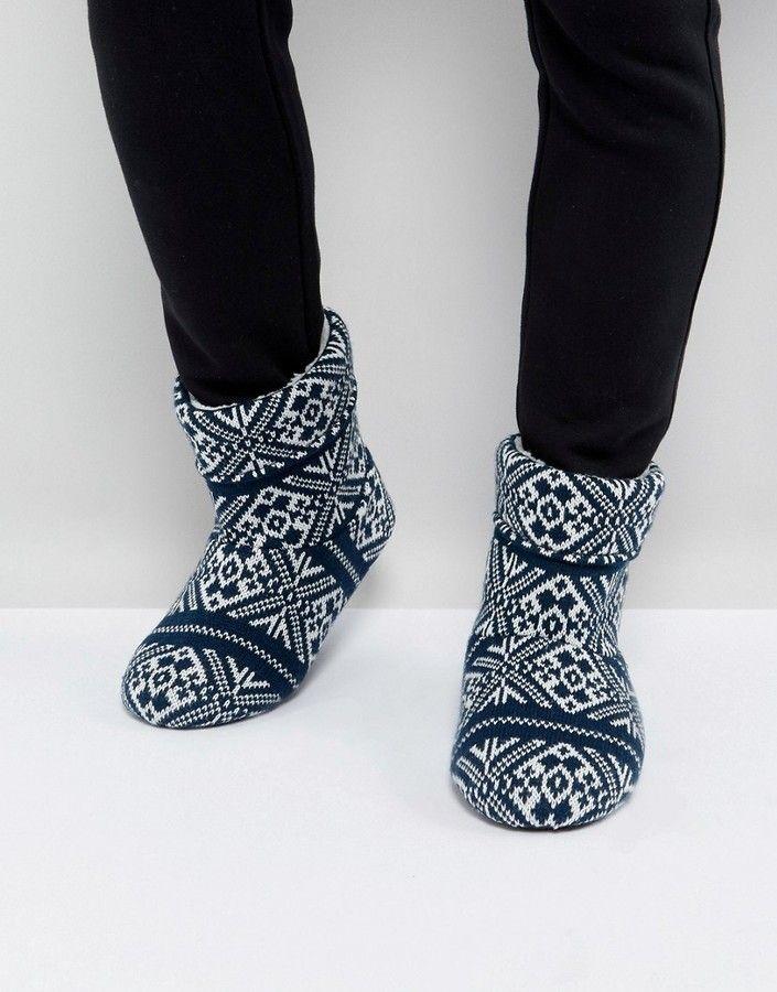 Buy Men Shoes / Asos Slipper Boots In Navy Fairisle