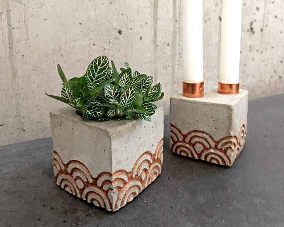 Betonkerzenhalter kupferne Wellen / Concrete candle holder