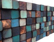 Madera de la pared arte - escultura de la pared de madera reciclada