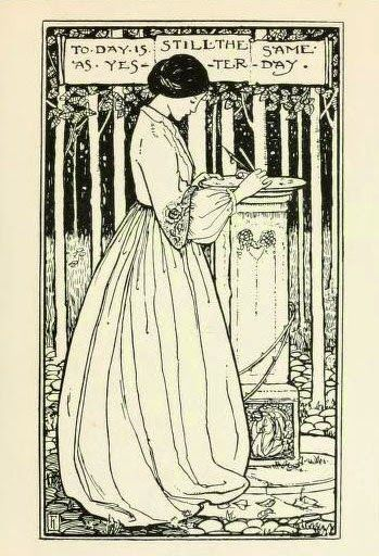 Pre Raphaelite Art: 'Today is still the same as yesterday.' Illustration by Florence Harrison (1877–1955) for 'Poems by Christina Rossetti' ...