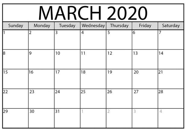 Free March 2020 Calendar Pdf Word Excel Monthly Templates