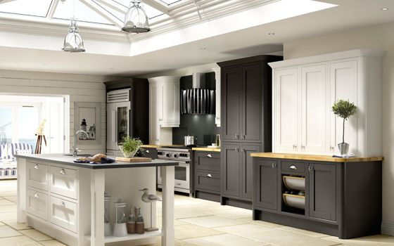 New England Kitchen Shown In Black And White Contact