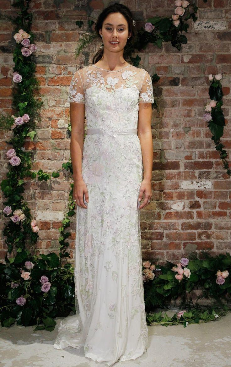 Jenny Packham Fall 2016 beaded floral lace applique illusion neckline sheath wedding dress with short sleeves | https://www.theknot.com/content/jenny-packham-wedding-dresses-bridal-fashion-week-fall-2016