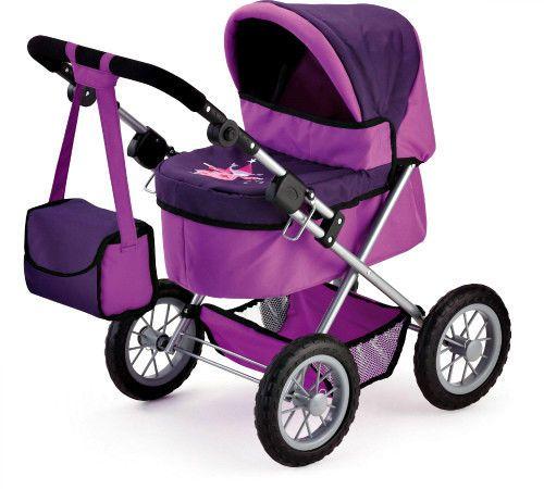 Girls Doll Pram Toy Lilac Kids Toddler Folding Stroller With Bag Shopping Basket #BayerDesign