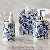 blue white bath porcelain accessories - Blue White Bathroom Accessories