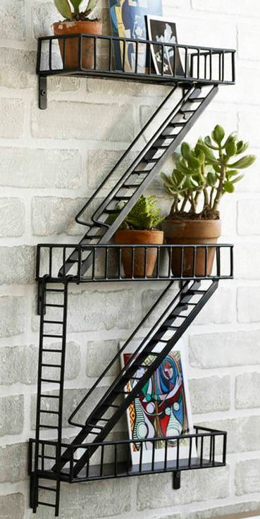 Fire escape wall shelf! Awesome #product_design