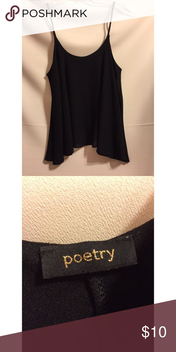 Black flowy spaghetti top Cute top that is easy to dress up or down. Perfect for spring and summer. Only worn once. Perfect condition! It says no size on the tag but I think it's a size small. Poetry Tops Tank Tops
