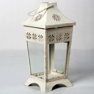 Ashland™ Summer Sunset Lantern, Antique White Medium
