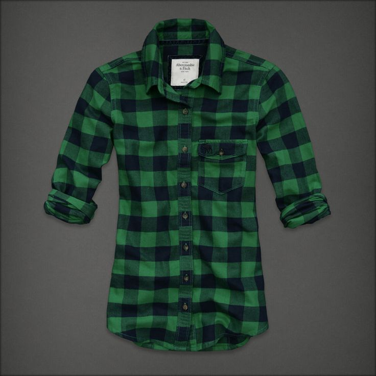 Blue red newest abercrombie fitch women well designed for Green and black plaid flannel shirt