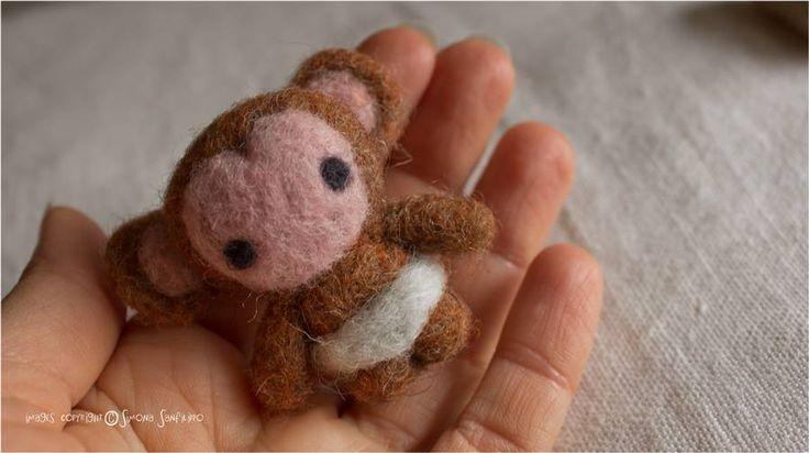 Handmade needle felted baby monkey