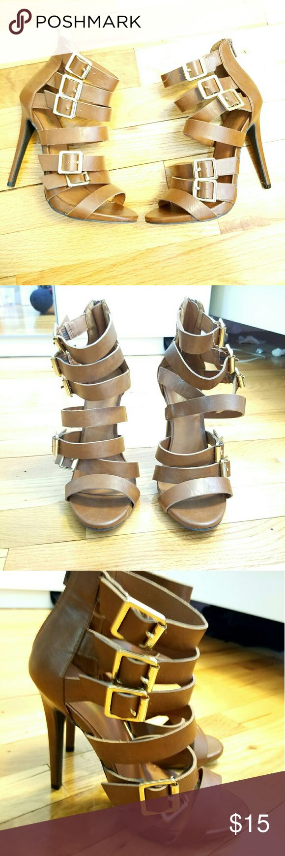 """*NWOT Charlotte Russe Brown Strappy Heels Brand new never worn! Brown Strappy Heels from Charlotte Russe with gold buckle details, zipper closure. I don't have the original box.  Size: 7 5"""" heels  Color: Brown with gold buckles Charlotte Russe Shoes Heels"""