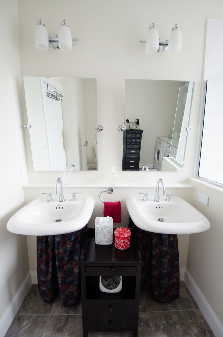 Bathroom Remodel - dual sinks - dual mirrors - wheelchair accessible shower - universal design bathroom