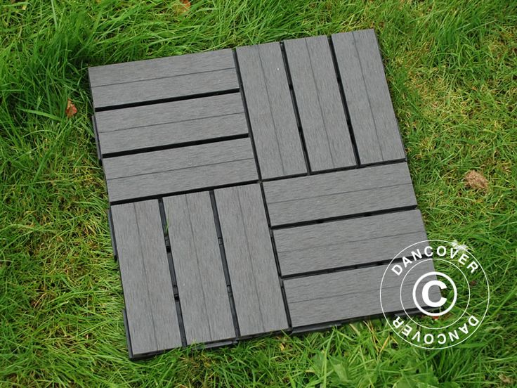 DECKING TILES WPC CLICK-FLOOR, SQUARES, 30X30CM, 9 PCS/BOX, GREY Decking tiles Click-Floor in the popular and maintenance-free WPC, which will provide you with a durable and soft surface on your patio, garden, around the pool or on a playground. The tiles are easy to lay with a simple and effective click system.