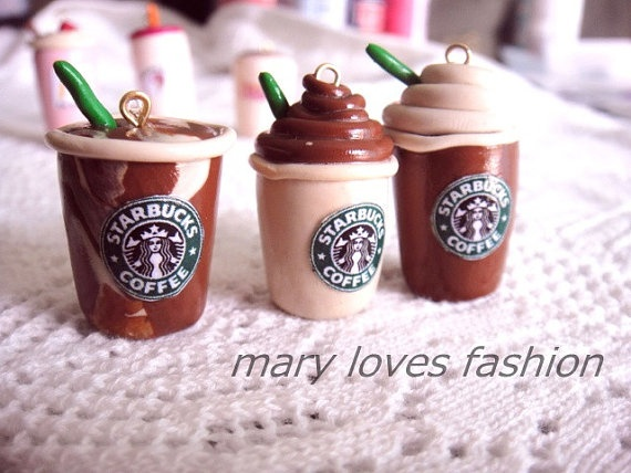 Starbucks clay charms kawaii keychain and by marylovesfashion, $5.00