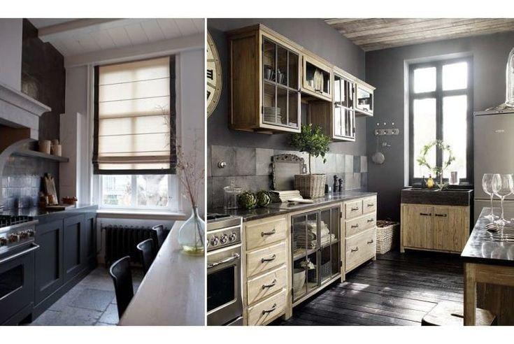 Черный цвет и светлое дерево в интерьере кухни