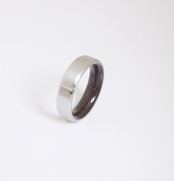 Mens Wood Wedding Band with Titanium Ring dark by aboutjewelry