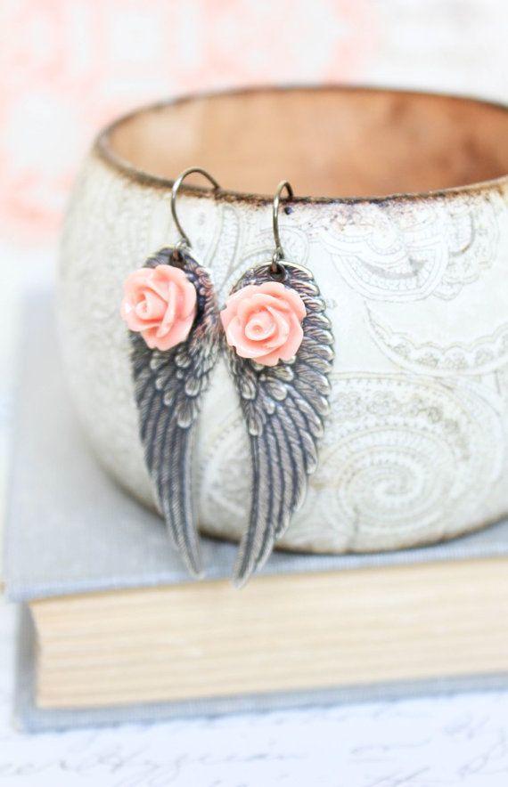 Silver Wing Earrings Angel Wings Long Dangle Earrings Coral Pink Rose Modern Jewellery Fairy Wings Bird