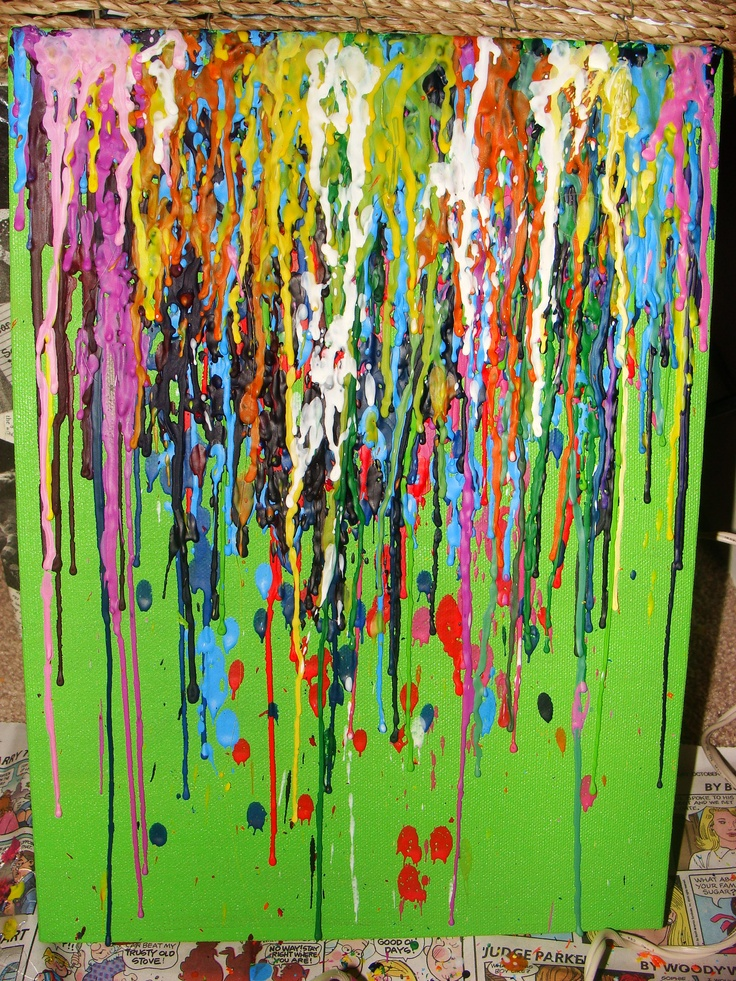 1000 images about crayon canvas art on pinterest for Crayon diy canvas