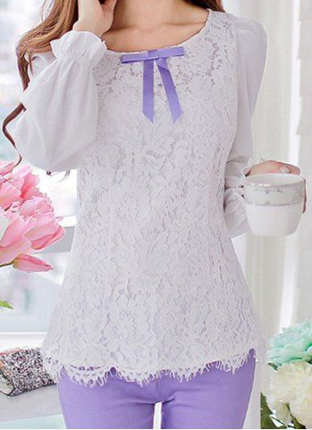 Vintage Scoop Neck Long Sleeves Lace Splicing Bowknot Blouse For Women