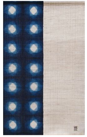 Japanese noren curtain, this one is Linen  with Aizome Indigo Circles, make great wall hangings, soft room or space dividers, or even door coverings.