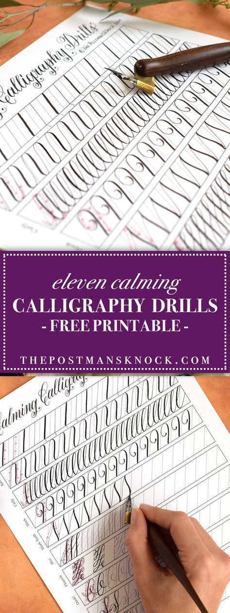 11 Calming Calligraphy Drills Printable (Free Download) | The Postman's Knock :: This unique calligraphy drills printable is perfect for calligraphers of all levels! It's fun and relaxing to fill out, and it's great practice to boot.