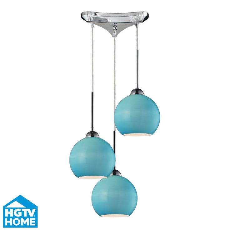 View the ELK Lighting 10240/3AQ HGTV Home Cassandra Three-Light Pan-Mount Mini Pendant Cluster with Aqua Glass Shades, in Polished Chrome Finish at LightingDirect.com.