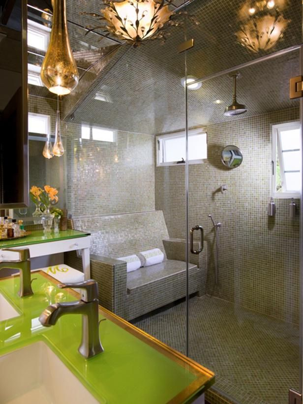 MASTER BATHROOM AND STEAM LOUNGE BY LORI DENNIS -WOW!!!  Tile sofa in the steam shower!  Decadent!