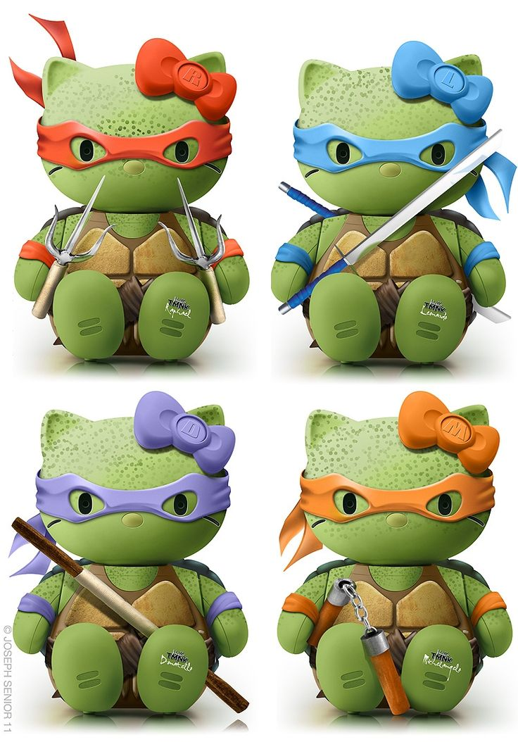 Teenage Mutant Ninja Turtle Kitty! . . .  These are so damn cute. . . I remember when Ninja Turtles came out in the 80's . .  Hello Kitty, you've come a long way!!!