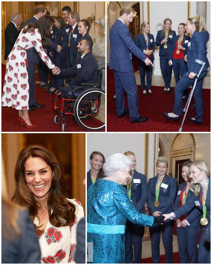 The royals chatting with Olympic and Paralympic medalists at the Palace this evening. Duchess Kate revealed tonight that 17 month old Charlotte is already loving learning to ride horses. She told equestrian Natasha Baker that while 'she doesn't echo it, she'll do her best to champion and encourage it.' She also revealed that George uses his polo stick as a hockey stick, much to Kate's delight! She said George also loves fencing and watched all their Olympic events as he was fascinated by…