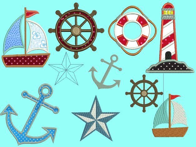 Stickdatei Embroidery Design Nautical Ahoi Embroidery