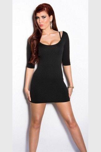 Μίνι φόρεμα με ανάγλυφα σχέδια - Μαύρο