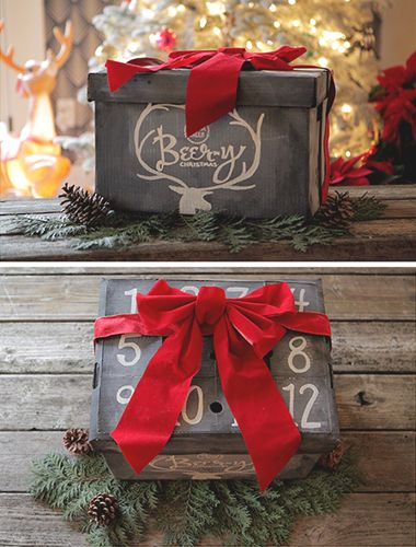 """It can be a challenge when it comes to Christmas shopping for your spouse, friend, parent, or co-worker… but the gift of booze is usually a win! The downside, however, is that a pre-packaged box or carton of booze can also come across as """"easy"""" or """"thoughtless."""" Well, I recently stumbled across a box that gave me an idea -- a 12 bottle storage box could be transformed into """"The 12 Beers of Christmas!"""""""