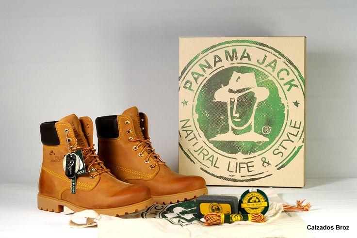 Colección Panama Jack. Bota de piel con cordón- Camel. (unisex).