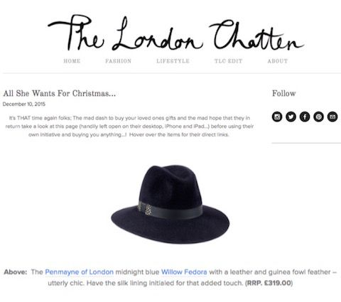 The London Chatter blog 'All She Wants For Christmas' gift guide featuring our Willow Fedora in Midnight Blue (10th December 2015).
