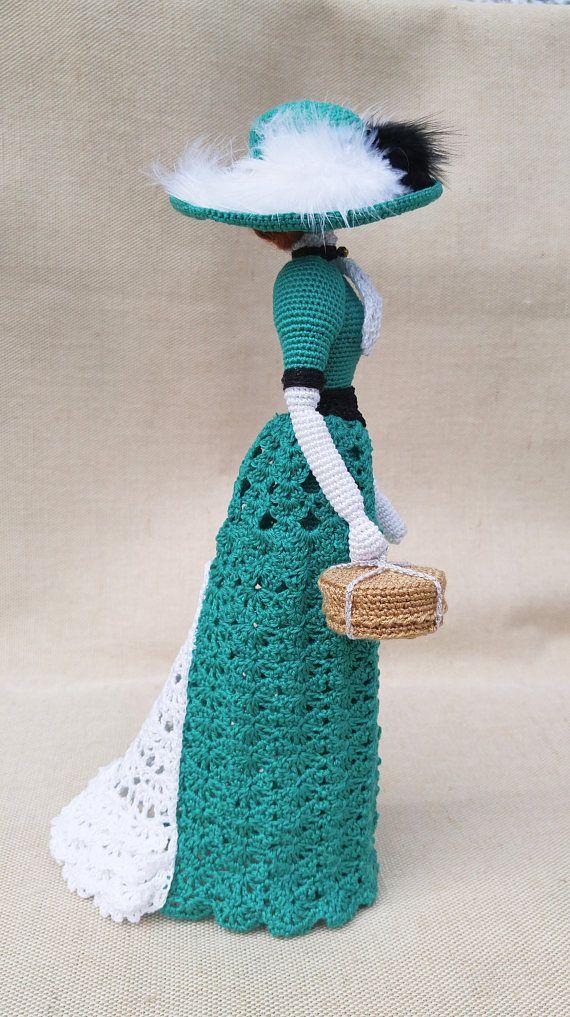 Muñeca amigurumi de ganchillo arte muñeca lady Esmeralda