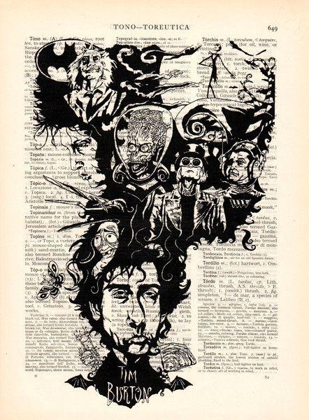 Originele prints - Woordenboek art print Tim Burton huis Illustratie - Een uniek product van Dictionary-vintage-book-page op DaWanda