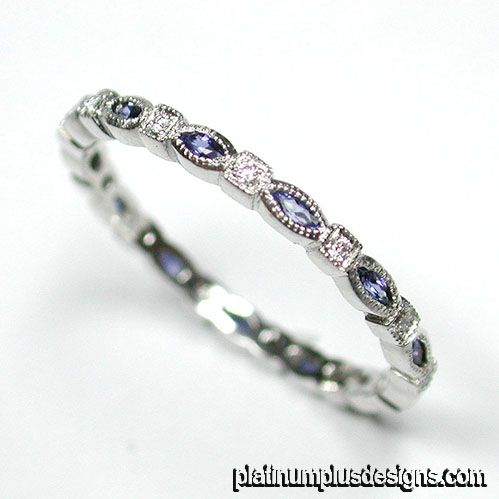 704S 420P Vintage Inspired Platinum Diamond And Sapphire Wedding Band