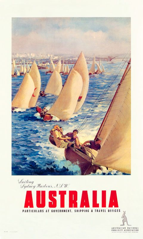 """Sailing Sydney Harbour"" - Vintage Travel Poster by James Northfield."
